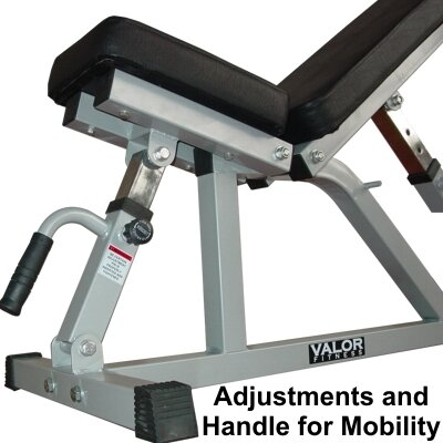 Valor Athletics Adjustable Utility Bench with Wheels