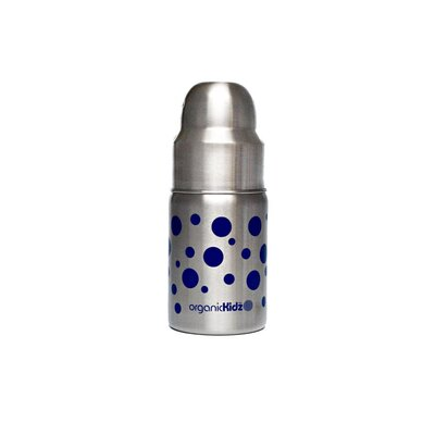 organicKidz Nine Ounce Wide Mouth Stainless Steel Baby Bottle in Dark Blue Dots