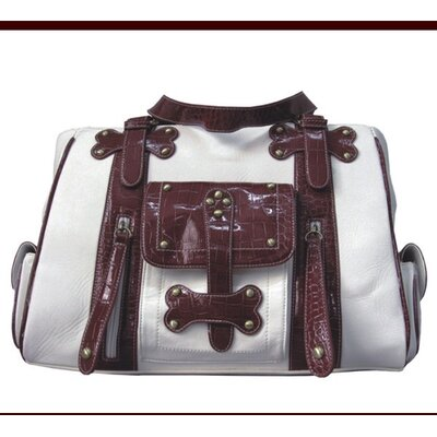 Backbone Pet Faux Leather Handbag Pet Carrier in White and Burgundy