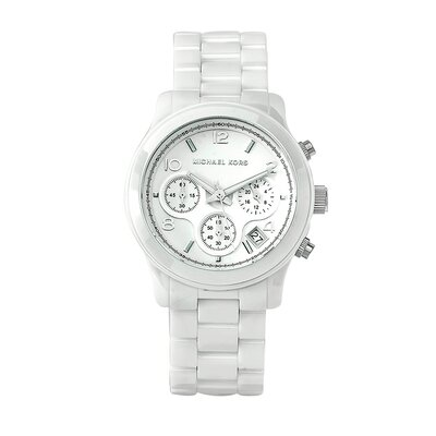 Michael Kors Women's Classic White Ceramic Bracelet Watch with Chronograph Dial