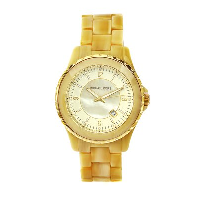 Michael Kors Women's Horn Acrylic Watch with Gold Tone Dial