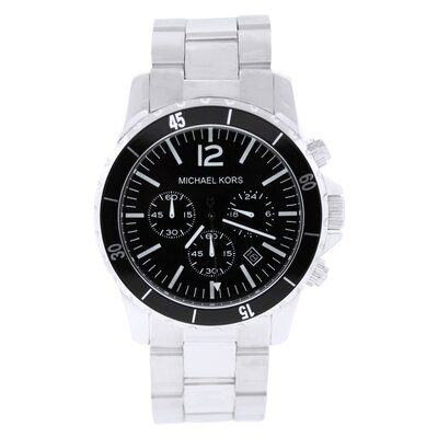 Men's Classic Stainless Steel Watch with Black Chronograph Dial