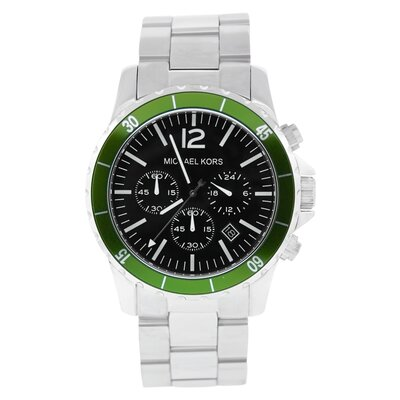 Michael Kors Men's Classic Green Bezel Watch with Black Chronograph Dial