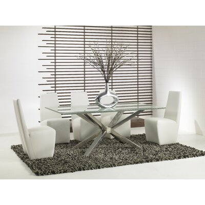 "Star International 42"" Mantis Crackle Glass Dining Table"