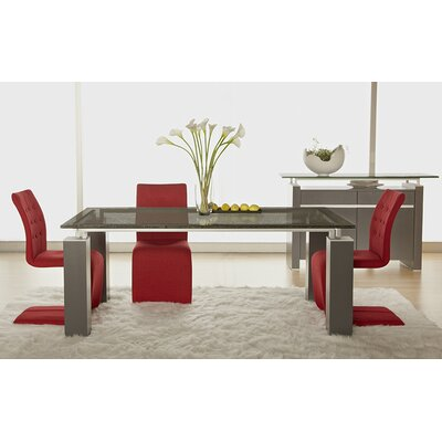 Ritz 7 Piece Dining Set with Crackle Glass