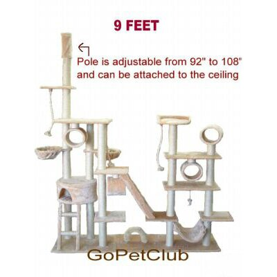 Go Pet Club 9 ft. Cat Tree in Beige