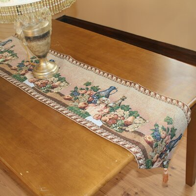 Violet Linen Fruit Bowl Tapestry Design Table Runner