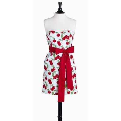 Violet Linen Kitchen Cherry Bib Strapless Apron