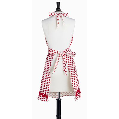 Violet Linen White and Red Polka Dot Bib Bombshell Apron