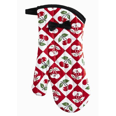 Violet Linen Diamond Cherries Oven Mitt