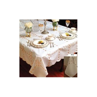 Violet Linen Crown Tablecloth with Ribbon