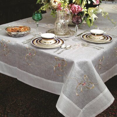 Violet Linen Beads and Bows Embroidered Design Tablecloth