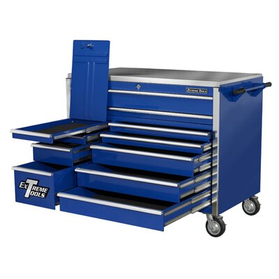 "Extreme Tools 55"" 11 Drawer Professional Roller Cabinet in Blue"