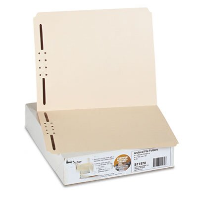 S J Paper Archival File Folders, Antimicrobial, Straight Top Tab, Letter, Manila, 50/Box