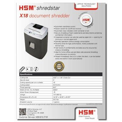 HSM of America,LLC Shredstar X18, 18 sheets, cross-cut, 7 gal. capacity