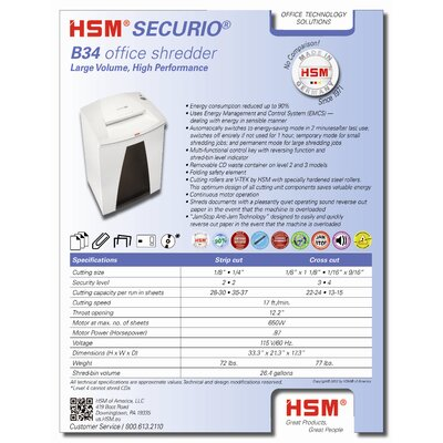 HSM of America,LLC HSM SECURIO B34s, 28-30 sheets, strip-cut, 26.4 gal. capacity