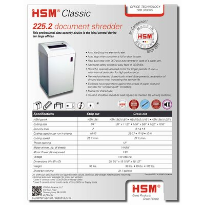 HSM of America,LLC Classic 225.2, 16-18 sheets, strip-cut, 31.7 gal. capacity