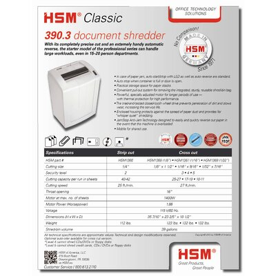 HSM of America,LLC 390.3c, 25-27 sheets, cross-cut, 39 gal. capacity