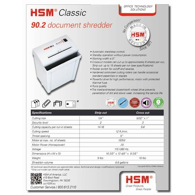 HSM of America,LLC 90.2c, 5-6 sheet, cross-cut, 6.6 gal. capacity
