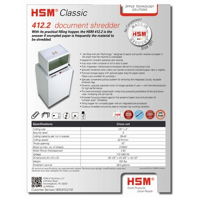 HSM of America,LLC 412.2c, 38-40 sheet, cross-cut, 38.5 gal. capacity