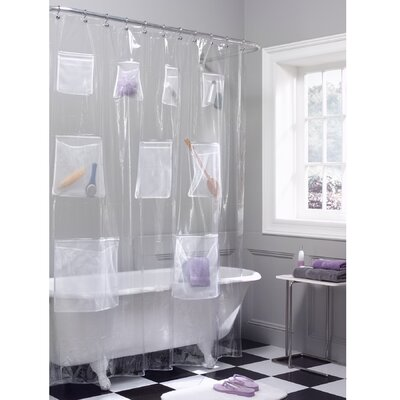 Maytex Mesh Pockets Vinyl Shower Curtain in Clear
