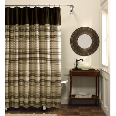 Maytex Blake Fabric Chenille Shower Curtain in Chocolate
