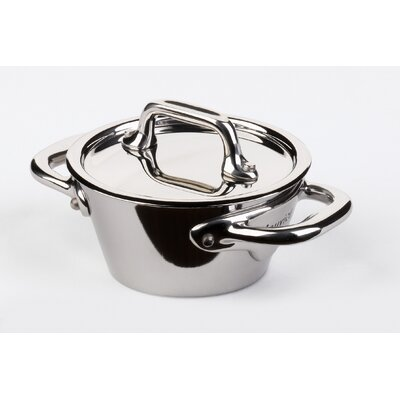 Mauviel M'Cook Splayed 0.21-Qt. Cast Stainless Steel Oval Cocotte with Lid