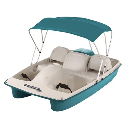 KL Industries Water Wheeler ASL Five Person Pedal Boat with Adjustable Seats and Canopy in Cream / Teal