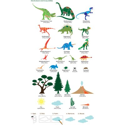 My Wonderful Walls Dinosaur Days Self-Adhesive Wall Stencil Kit