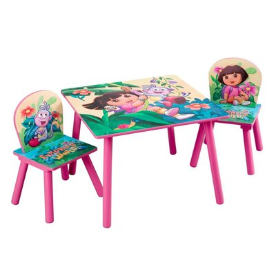 Delta Children Nickelodeon Dora the Explorer 10th Anniversary Kids' 3 Piece Table and Chair Set