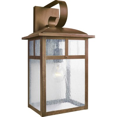 Forte Lighting One Light Outdoor Wall Lantern with Clear Seeded Glass in Rustic Sienna