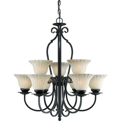 Forte Lighting 9 Light Chandelier with Umber Cloud Glass Shades