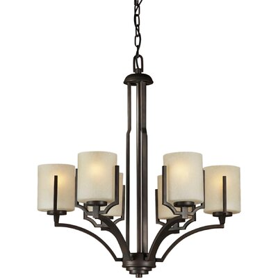 Forte Lighting 6 Light Chandelier with Umber Linen Glass Shade