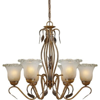 6 Light Chandelier with Umber Ice Glass Shades