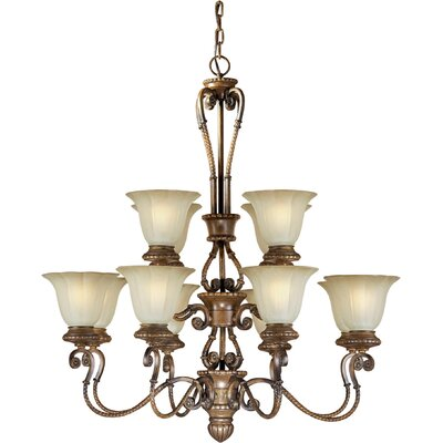 Forte Lighting 12 Light Chandelier with Umber Glass Shades