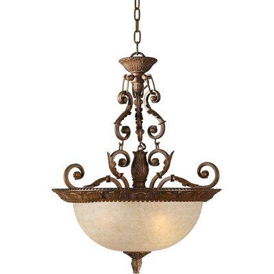 Forte Lighting 3 Light Bowl Inverted Pendant