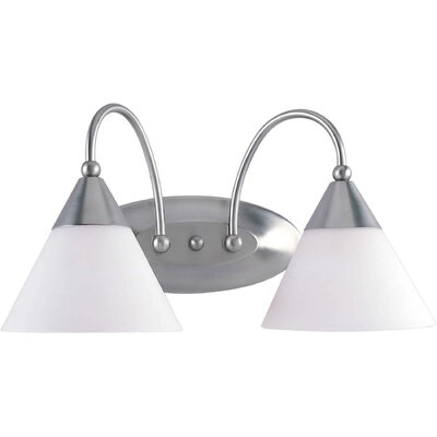 Forte Lighting Two Light Vanity Light with Satin Opal Shade in Brushed Nickel