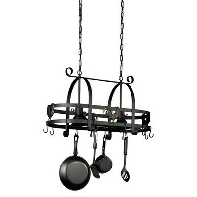 Pot Racks Hanging Kitchen Island with 2 Light Pendant