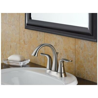 Delta Lahara Two Handle Centerset Bathroom Faucet in Stainless Steel
