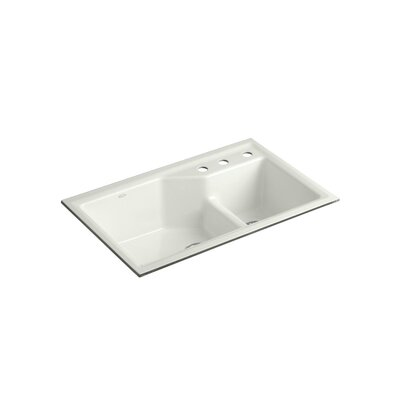 "Kohler Indio 33"" X 21-1/8"" X 9-3/4"" Under-Mount Smart Divide Large/Small Double-Bowl Kitchen Sink with Three-Hole Faucet Holes"