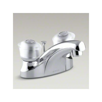 Coralais Centerset Lavatory Faucet with Sculptured Acrylic Handle and Plastic Drain - P15241-7D