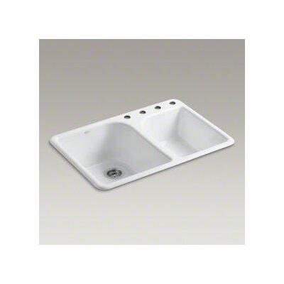 "Kohler Executive Chef 33"" X 22"" X 10-5/8"" Top-Mount Large/Medium, High/Low Double-Bowl Kitchen Sink with 4 Faucet Holes"