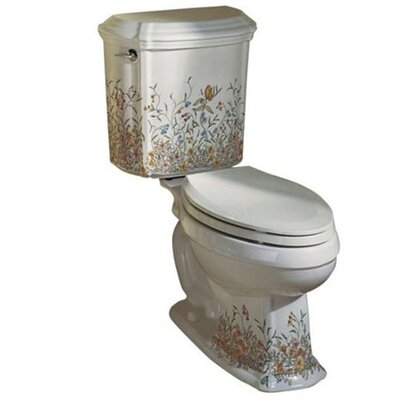 Kohler English Trellis Design On Portrait Two-Piece Elongated 1.6 Gpf Toilet with Ingenium Flush Technology and Left-Hand Trip Lever