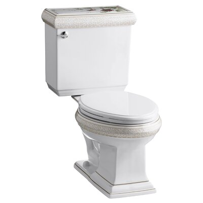 Crimson Topaz Design On Memoirs Classic Two-Piece Elongated 1.6 Gpf Toilet with Ingenium Flush ...