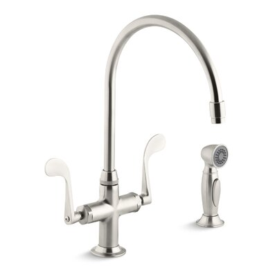 Essex Kitchen Faucet with Wristblade Handles and Sidespray