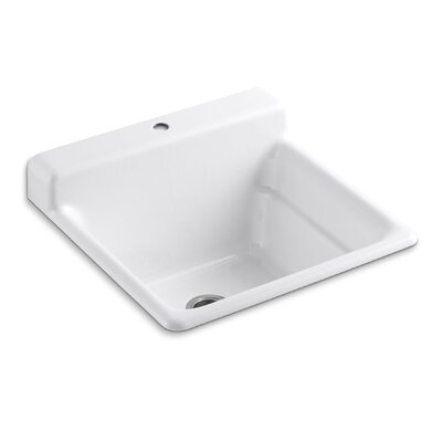 Bayview Self-Rimming Utility Sink with Single-Hole Faucet Drilling On Top Of Backsplash