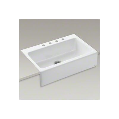 "Kohler Dickinson 33"" X 22-1/8"" X 8-3/4"" Apron-Front, Tile-In Single-Bowl Kitchen Sink with 4 Faucet Holes"