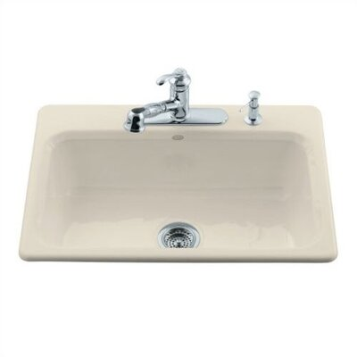 "Kohler Bakersfield 31"" X 22"" X 8-5/8"" Top-Mount Single-Bowl Kitchen Sink with 4 Faucet Holes"
