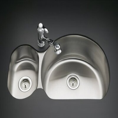 Kohler Undertone 9.5&quot; Two Bowl Undermount Kitchen Sink