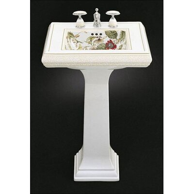 Kohler Crimson Topaz Design on Memoirs Pedestal Lavatory with Classic Design and White Pedestal